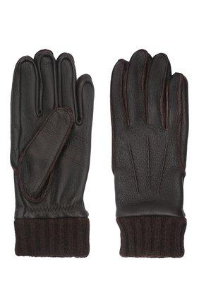 Мужские кожаные перчатки aston AGNELLE темно-коричневого цвета, арт. AST0N | Фото 2 (Мужское Кросс-КТ: Кожа и замша)
