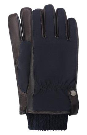Мужские комбинированные перчатки PAUL&SHARK темно-синего цвета, арт. 11317202/I8E | Фото 1 (Мужское Кросс-КТ: Кожа и замша; Материал: Замша)
