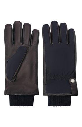 Мужские комбинированные перчатки PAUL&SHARK темно-синего цвета, арт. 11317202/I8E | Фото 2 (Мужское Кросс-КТ: Кожа и замша; Материал: Замша)