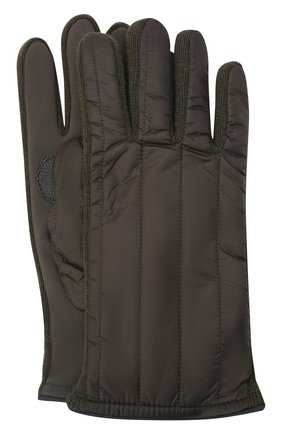 Мужские утепленные перчатки PAUL&SHARK хаки цвета, арт. 11317201/H1U | Фото 1 (Материал: Синтетический материал, Текстиль; Кросс-КТ: Пуховик)