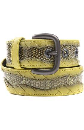 Ремень с отделкой из кожи змеи | Фото №1