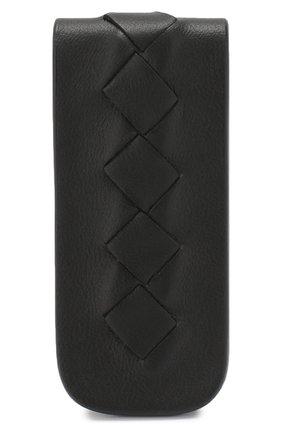 Кожаный зажим для купюр Bottega Veneta черного цвета | Фото №1