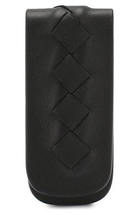 Кожаный зажим для купюр Bottega Veneta черного цвета | Фото №2
