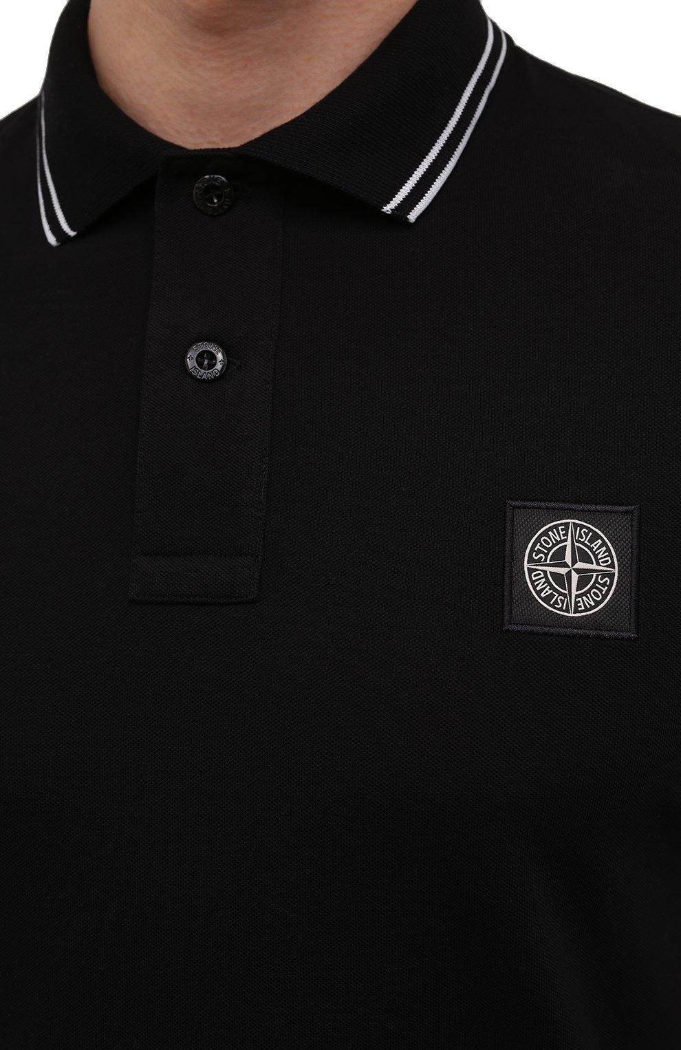 Мужское хлопковое поло STONE ISLAND черного цвета, арт. 101522S18 | Фото 5 (Застежка: Пуговицы; Рукава: Короткие; Длина (для топов): Стандартные; Материал внешний: Хлопок; Статус проверки: Проверена категория)