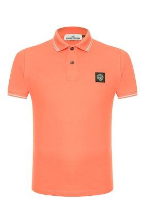 Мужское хлопковое поло STONE ISLAND оранжевого цвета, арт. 101522S18 | Фото 1
