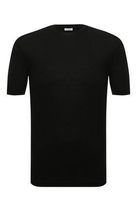 Мужская однотонная хлопковая футболка ZIMMERLI черного цвета, арт. 220/5126 | Фото 1
