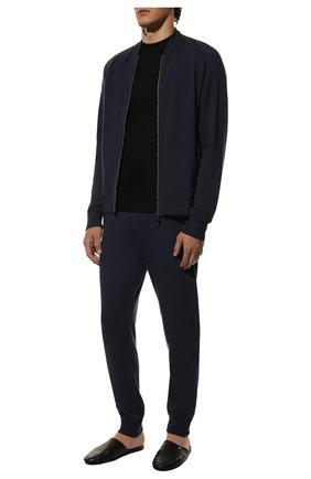 Мужская однотонная хлопковая футболка ZIMMERLI черного цвета, арт. 220/5126 | Фото 2