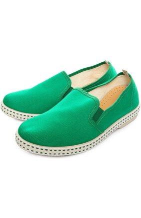 Детские хлопковые эспадрильи Rivieras Leisure Shoes зеленого цвета | Фото №1