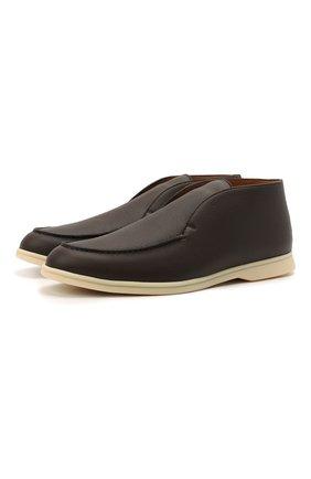 Мужские кожаные ботинки open walk LORO PIANA темно-коричневого цвета, арт. FAE0021   Фото 1 (Материал внутренний: Натуральная кожа; Подошва: Плоская; Статус проверки: Проверено, Проверена категория; Мужское Кросс-КТ: Ботинки-обувь)
