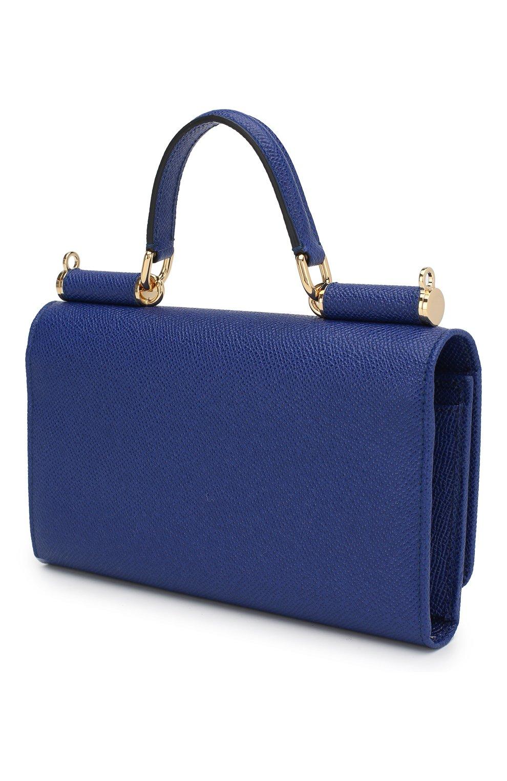 Сумка Sicily Von на цепочке Dolce & Gabbana синего цвета | Фото №3