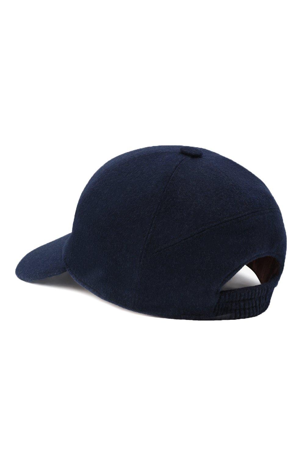 Мужской кашемировая бейсболка  LORO PIANA темно-синего цвета, арт. FAF4352 | Фото 3