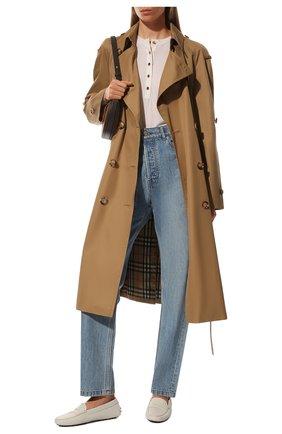Женские кожаные мокасины gommini TOD'S белого цвета, арт. XXW00G000105J1 | Фото 2