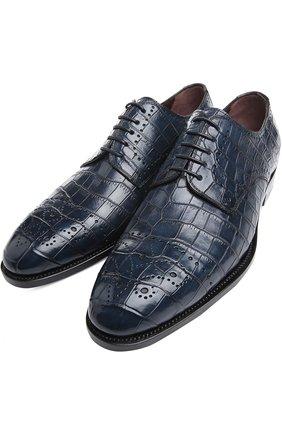 Мужской туфли anto из кожи крокодила KITON синего цвета, арт. USSDECH/N102   Фото 2