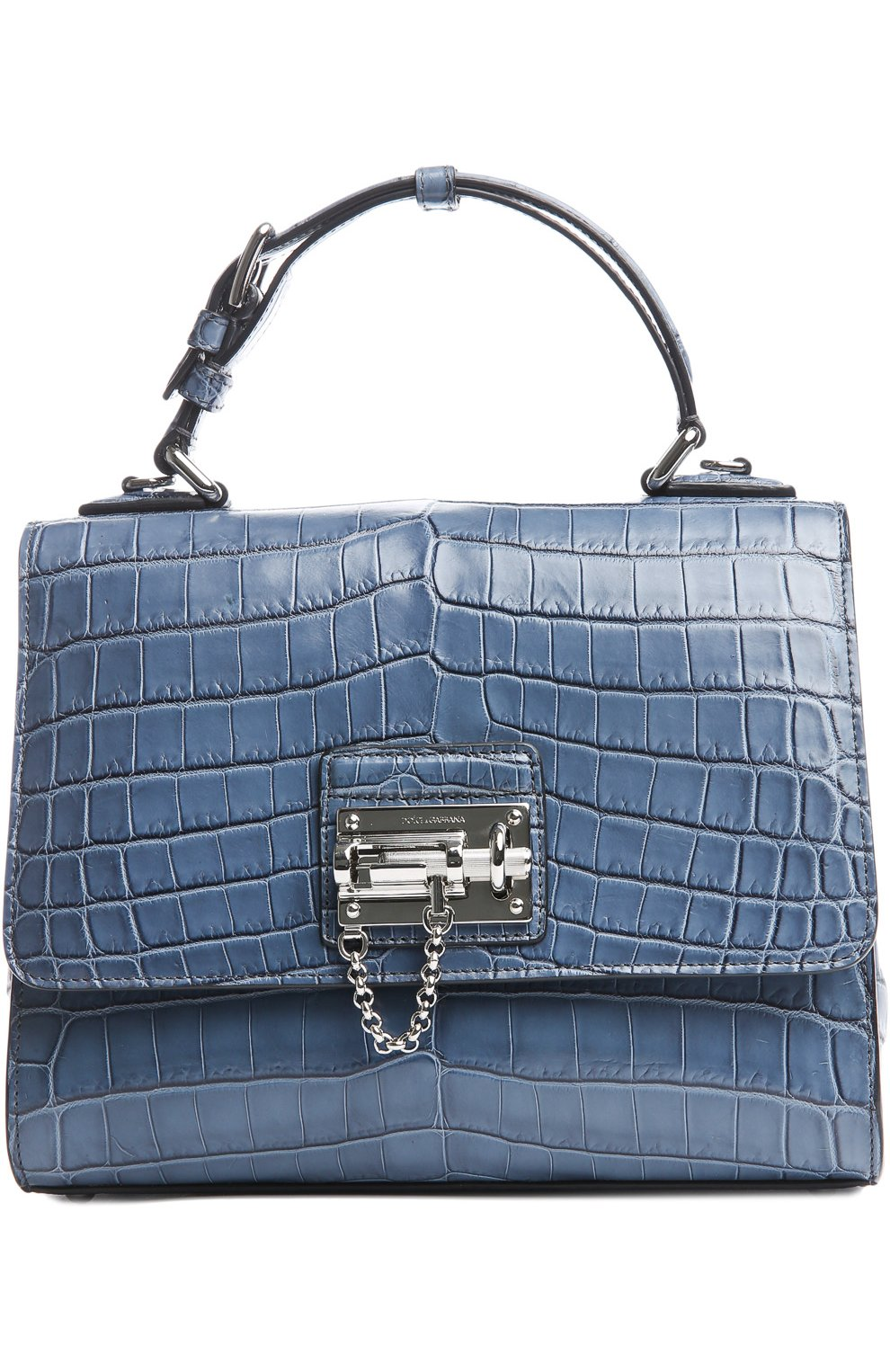 350bfcd699f3 Женская сумка monica из кожи крокодила DOLCE & GABBANA синяя цвета ...