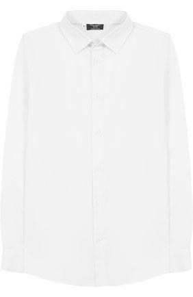 Детская хлопковая рубашка с воротником кент DAL LAGO белого цвета, арт. N402/1167/7-12 | Фото 1