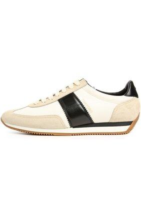 Мужские кроссовки TOM FORD кремвого цвета, арт. J0948T/CTK | Фото 1 (Статус проверки: Проверена категория, Проверено; Подошва: Плоская; Стили: Классический; Материал внешний: Текстиль)