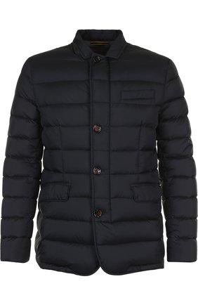 Утепленная стеганая куртка на молнии с отложным воротником Moorer темно-синяя | Фото №1