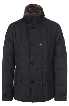 Куртка с воротником Moorer темно-синяя | Фото №1