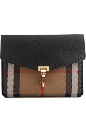 Кожаная сумка Macken small с отделкой из клетчатого текстиля