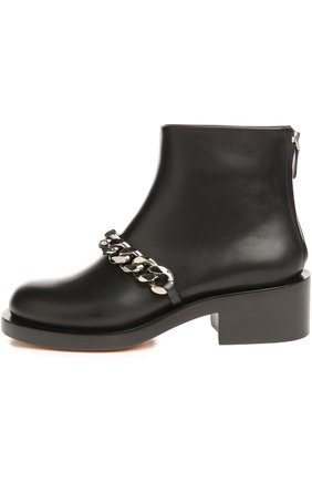 Кожаные ботинки с массивной цепью | Фото №1
