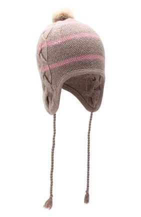 Детского шапка LORO PIANA розового цвета, арт. FAF4476 | Фото 1 (Материал: Шерсть, Кашемир, Натуральный мех)