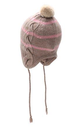 Детского шапка LORO PIANA розового цвета, арт. FAF4476 | Фото 2 (Материал: Шерсть, Кашемир, Натуральный мех)