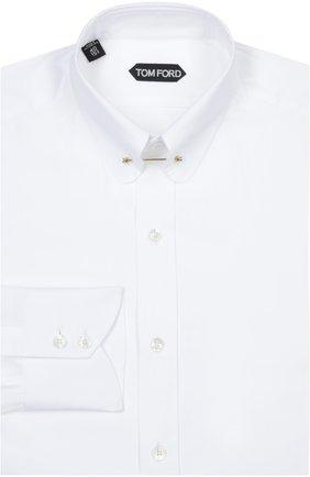 Мужская сорочка с булавкой TOM FORD белого цвета, арт. 6FT00094S1EV | Фото 1
