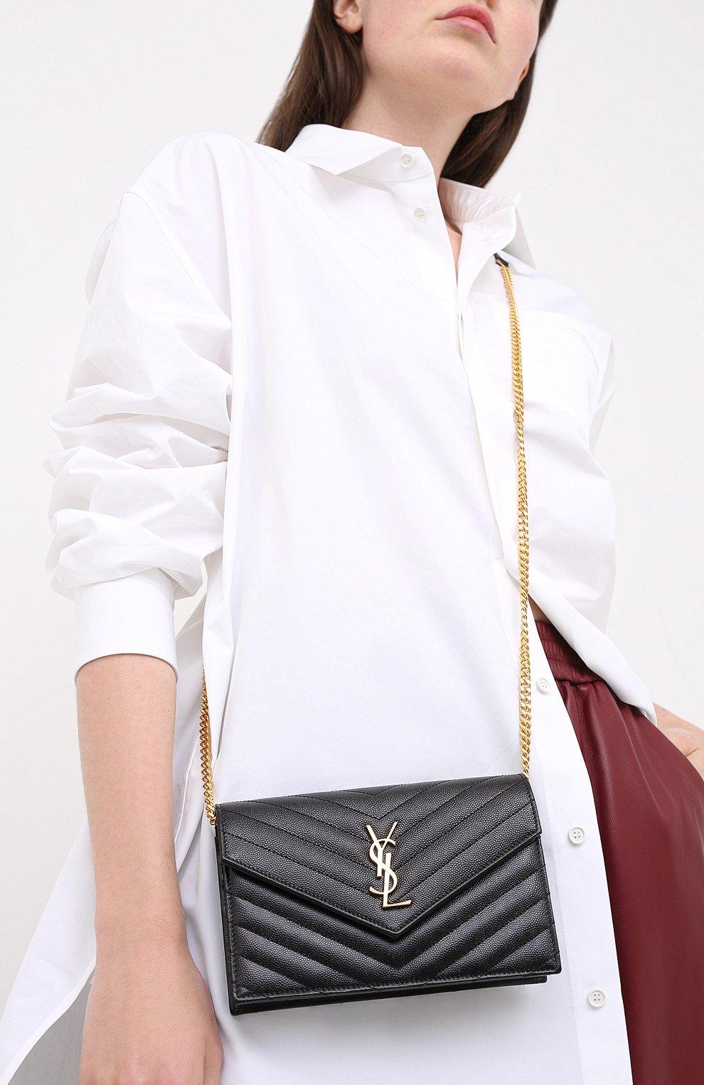 Женская сумка monogram envelope mini  SAINT LAURENT черного цвета, арт. 393953/B0W01 | Фото 2