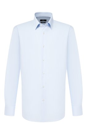 Мужская хлопковая сорочка BOSS голубого цвета, арт. 50121367 | Фото 1