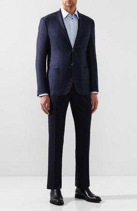 Мужская хлопковая сорочка BOSS голубого цвета, арт. 50121367 | Фото 2