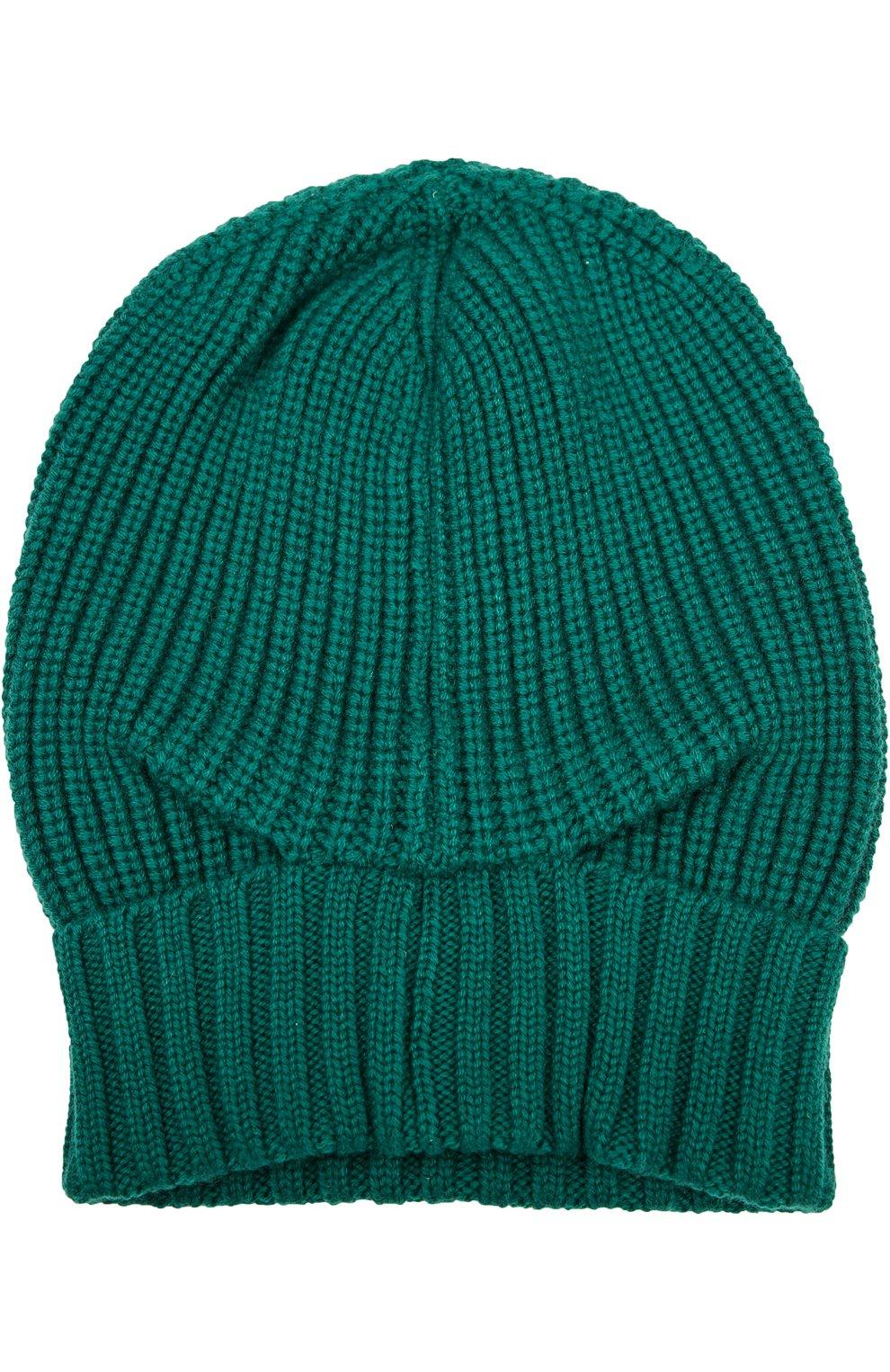 Кашемировая шапка с отворотом Dolce & Gabbana зеленого цвета   Фото №2