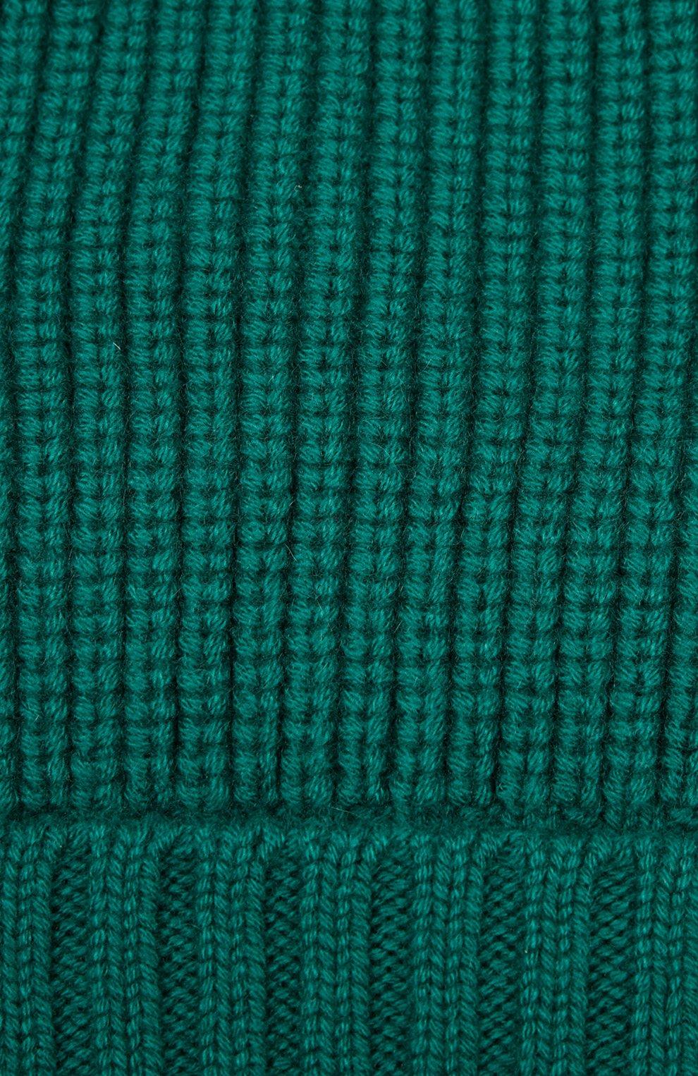 Кашемировая шапка с отворотом Dolce & Gabbana зеленого цвета   Фото №3