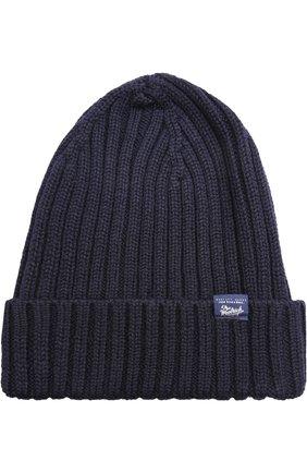Шерстяная шапка фактурной вязки Woolrich темно-синего цвета | Фото №1