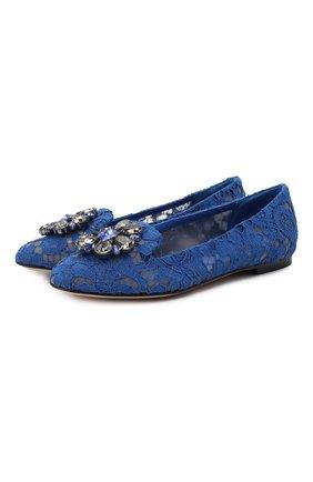 Женские текстильные слиперы rainbow lace DOLCE & GABBANA синего цвета, арт. 0112/CP0010/AL198 | Фото 1