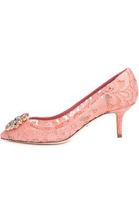 Женская текстильные туфли rainbow lace DOLCE & GABBANA розового цвета, арт. 0112/CD0066/AL198 | Фото 1