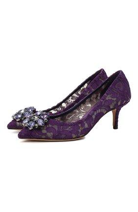 Женские текстильные туфли rainbow lace DOLCE & GABBANA фиолетового цвета, арт. 0112/CD0066/AL198 | Фото 1
