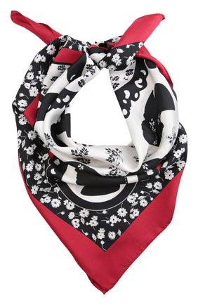 Шелковый платок с принтом Dolce & Gabbana красный | Фото №1