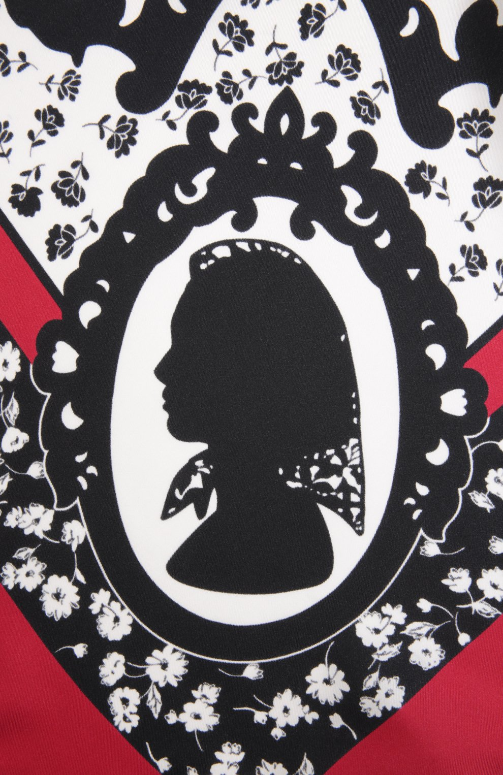 Шелковый платок с принтом Dolce & Gabbana красный | Фото №2