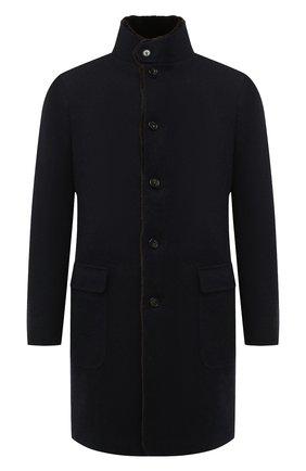 Мужской кашемировое пальто с меховой подкладкой LORO PIANA темно-синего цвета, арт. FAF4118 | Фото 1