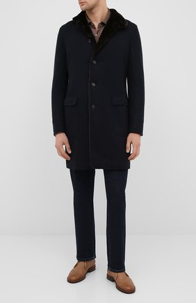 Мужской кашемировое пальто с меховой подкладкой LORO PIANA темно-синего цвета, арт. FAF4118 | Фото 2
