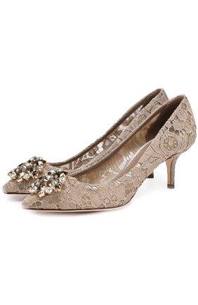 Женская текстильные туфли rainbow lace DOLCE & GABBANA золотого цвета, арт. 0112/CD0066/AL198 | Фото 1