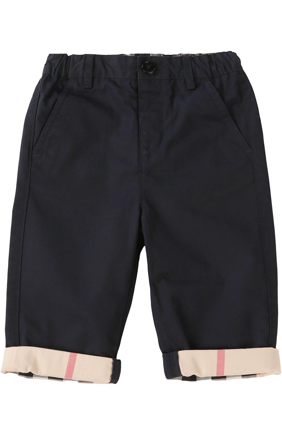 Детские брюки с эластичным поясом BURBERRY синего цвета, арт. 3907027 | Фото 1 (Материал внешний: Хлопок; Статус проверки: Проверено, Проверена категория; Ростовка одежда: 36 мес | 98 см)