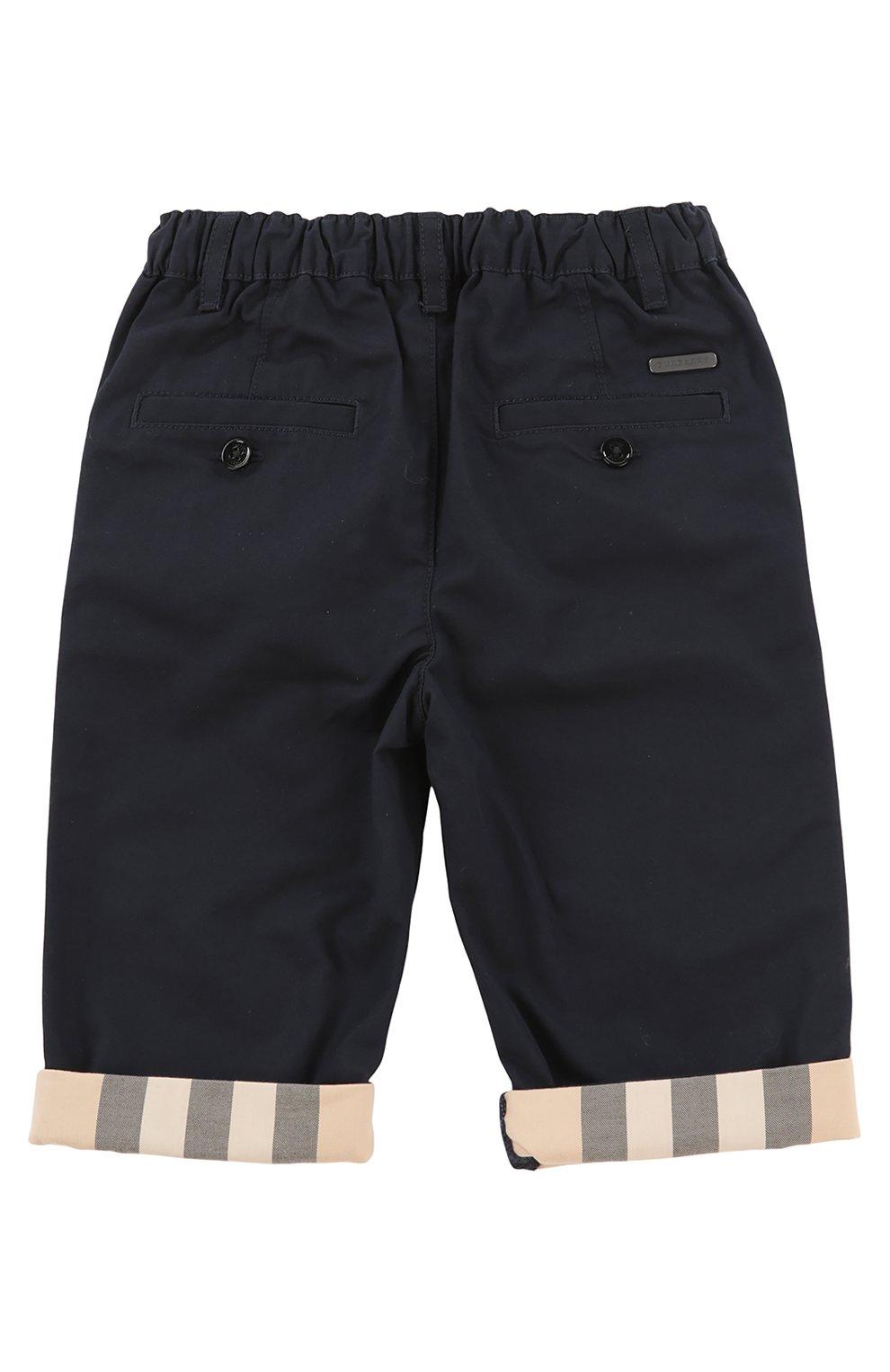 Детские брюки с эластичным поясом BURBERRY синего цвета, арт. 3907027 | Фото 2 (Материал внешний: Хлопок; Статус проверки: Проверено, Проверена категория; Ростовка одежда: 36 мес | 98 см)