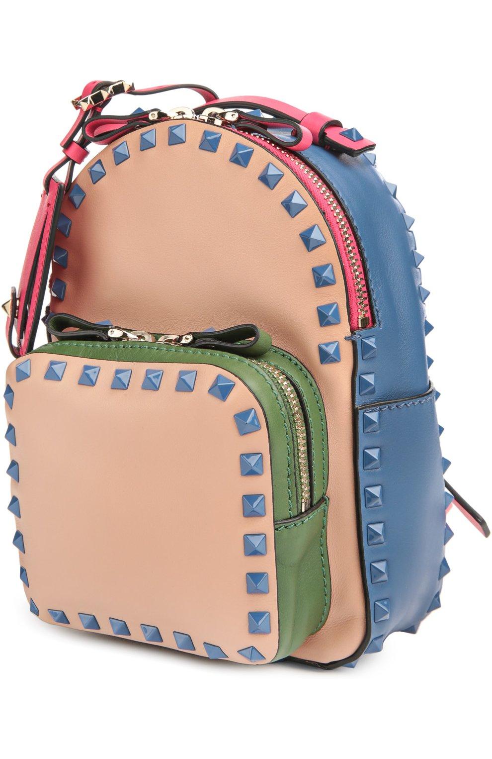 Маленький рюкзак Rockstud из комбинированной кожи | Фото №3