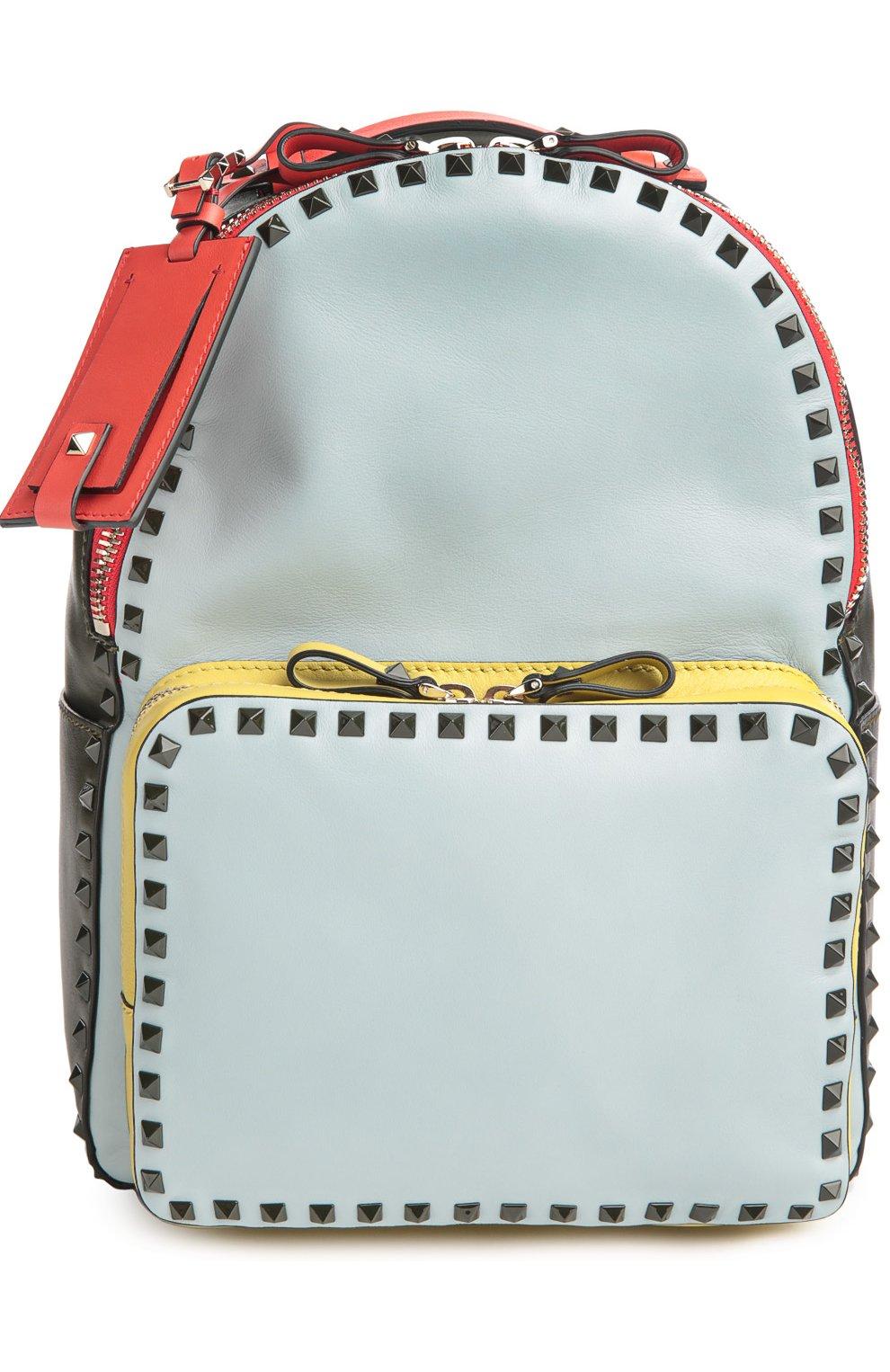 Средний рюкзак Rockstud из комбинированной кожи   Фото №1