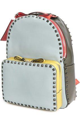 Средний рюкзак Rockstud из комбинированной кожи   Фото №3