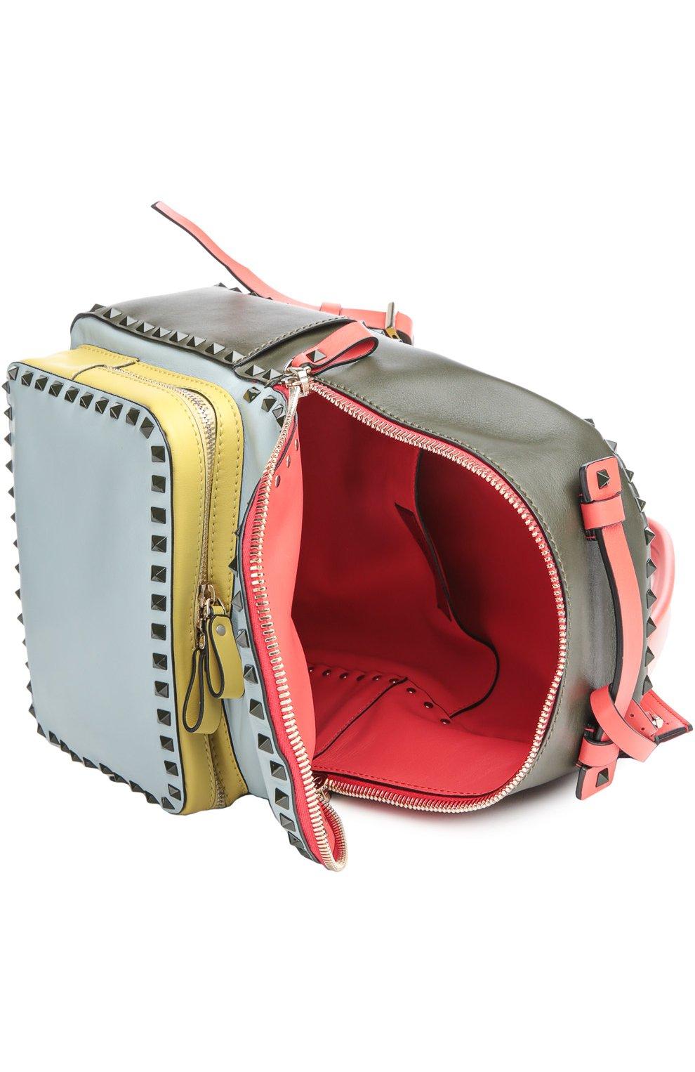 Средний рюкзак Rockstud из комбинированной кожи   Фото №4