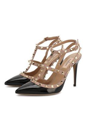 Женская лаковые туфли rockstud с ремешками VALENTINO черного цвета, арт. KW2S0393/VNW | Фото 1
