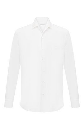 Мужская хлопковая рубашка LORO PIANA белого цвета, арт. FAD3172   Фото 1