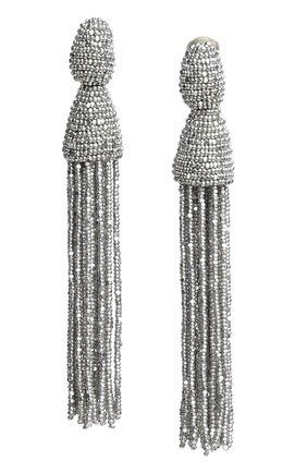 Женские серьги-клипсы из бисера OSCAR DE LA RENTA серебряного цвета, арт. 0J101SIL | Фото 1